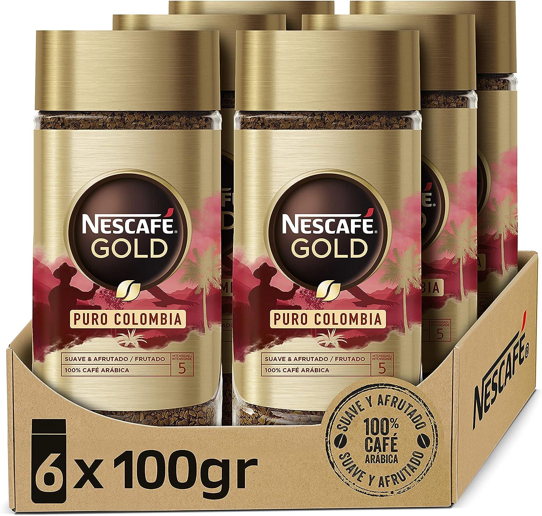 NESCAFÉ GOLD PURO COLOMBIA aroma y sabor, café soluble 100 % arábica de Colombia, frasco de vidrio, Pack de 6 x 100 g