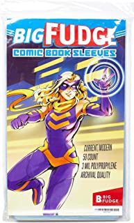 Big Fudge Archival Comic Book Sleeves (Current Size) Pack of 50 Comic Book Bags for Current Comic Books, or 7.25x10.5 Magazine - Crystal Clear Comic Book Storage, Collectors Quality Sleeve