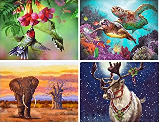4 Pack 5D Diamond Painting Four Seasons Animals Full Drill by Number Kits for Adults Kids, DIY Rhinestone Craft Bird Turtles Elephant Deer Paint with Diamonds Set Arts Xmas Decorations (12x16inch)