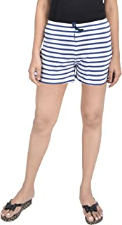 A9- Women Printed White Striped Shorts