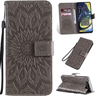 Pressed Printing Sunflower Pattern Horizontal Flip PU Leather Case for Galaxy A80, with Holder & Card Slots & Wallet & Lanyard New Hopezs (Color : Grey)