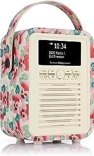 VQ Retro Mini DAB & DAB+ Digital Radio with FM & AM, Bluetooth & Alarm Clock – Emma Bridgewater Pink Pansy, (VQ-Mini-EBPP/...