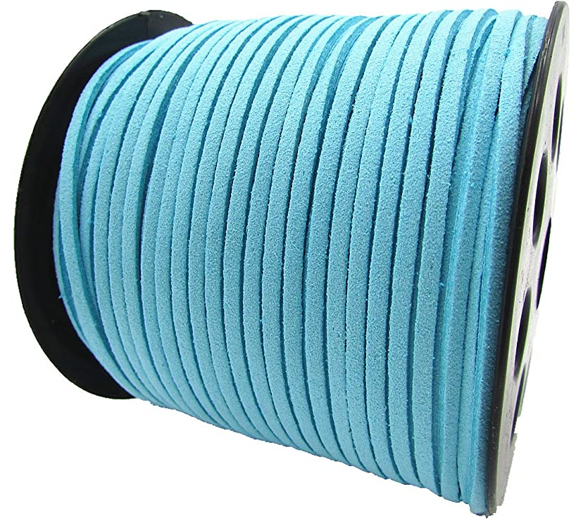 100 Yards Jewelry Making Flat Micro Fiber Lace Faux Suede Leather Cord (12 Colors) (Sky Blue)