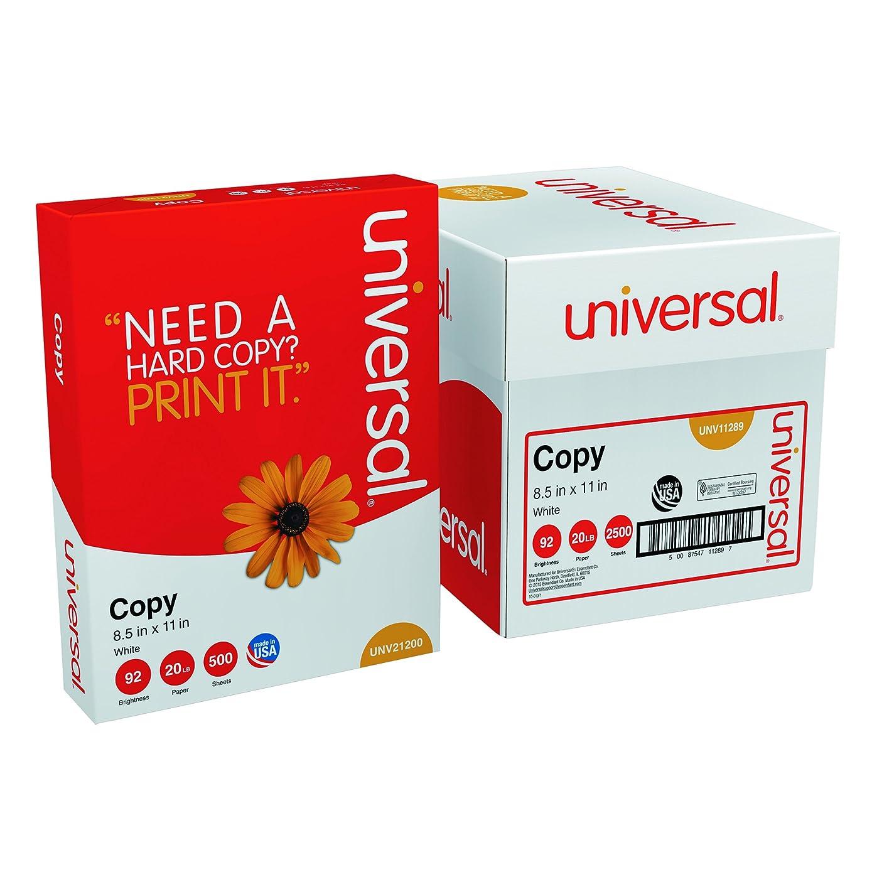 Universal 11289  8.5 x 11 Plain Paper for Fax, Copier & Printer, 20 lb, 5/Ream, White