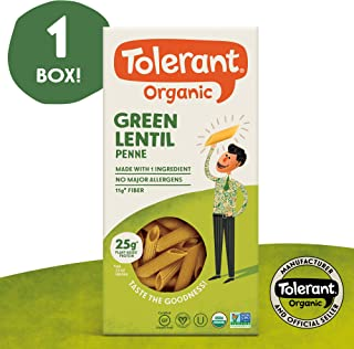 Tolerant Organic Gluten Free Green Lentil Penne Pasta, One 8 Ounce Box, Plant Based Protein, Vegan Pasta, Single Ingredient Protein Pasta, Whole Food, Clean Pasta, Low Glycemic Index Pasta