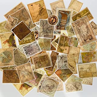 Doraking 60PCS Vintage Map Theme Stickers for Decoration Laptop Scrapbook, Doraking Retro Washi Stickers (Magic Map)