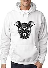 New Way 851 - Adult Hoodie Pitbull Day of The Dead Sugar Skull Unisex Pullover Sweatshirt