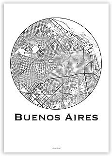 Cartel Buenos Aires Argentino Minimalista Mapa - City Map, decoración, regalo