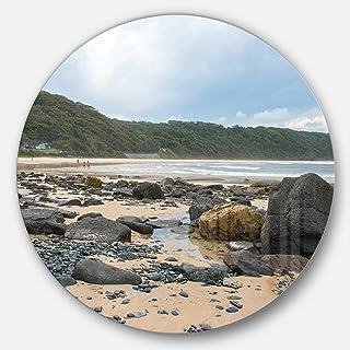Designart Pretty Beach with Small and Big Rocks Seashore Metal Wall Art Disc of 23 inch, 23X23-Disc, Blue