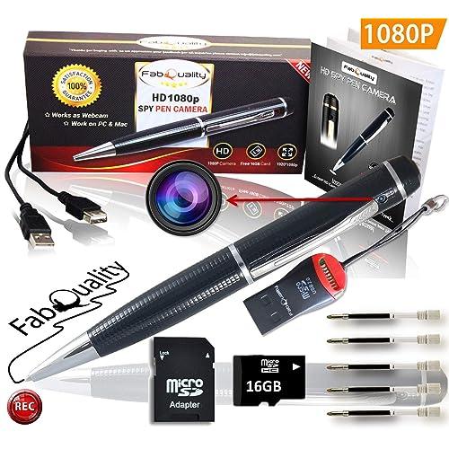 fabquality Caméra Cachée Espion Stylo 1080p. sans Voix, Une véritable Vidéo HD, SD 16Go + Batterie Image optimisé et 5comble d'encre Inc. Executive DVR Multifonction. Un Cadeau idéal