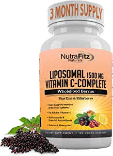 Liposomal Vitamin C with Zinc Capsules - Vit C Organic Elderberry, Amla, Camu Camu- Vitamina C High Absorption, Anti Aging...