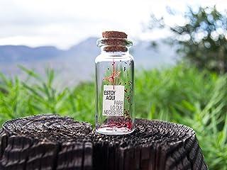 Estoy aquí para lo que necesites. I'm here. Mensaje en una botella. Miniaturas. Regalo personalizado. Divertida postal mot...