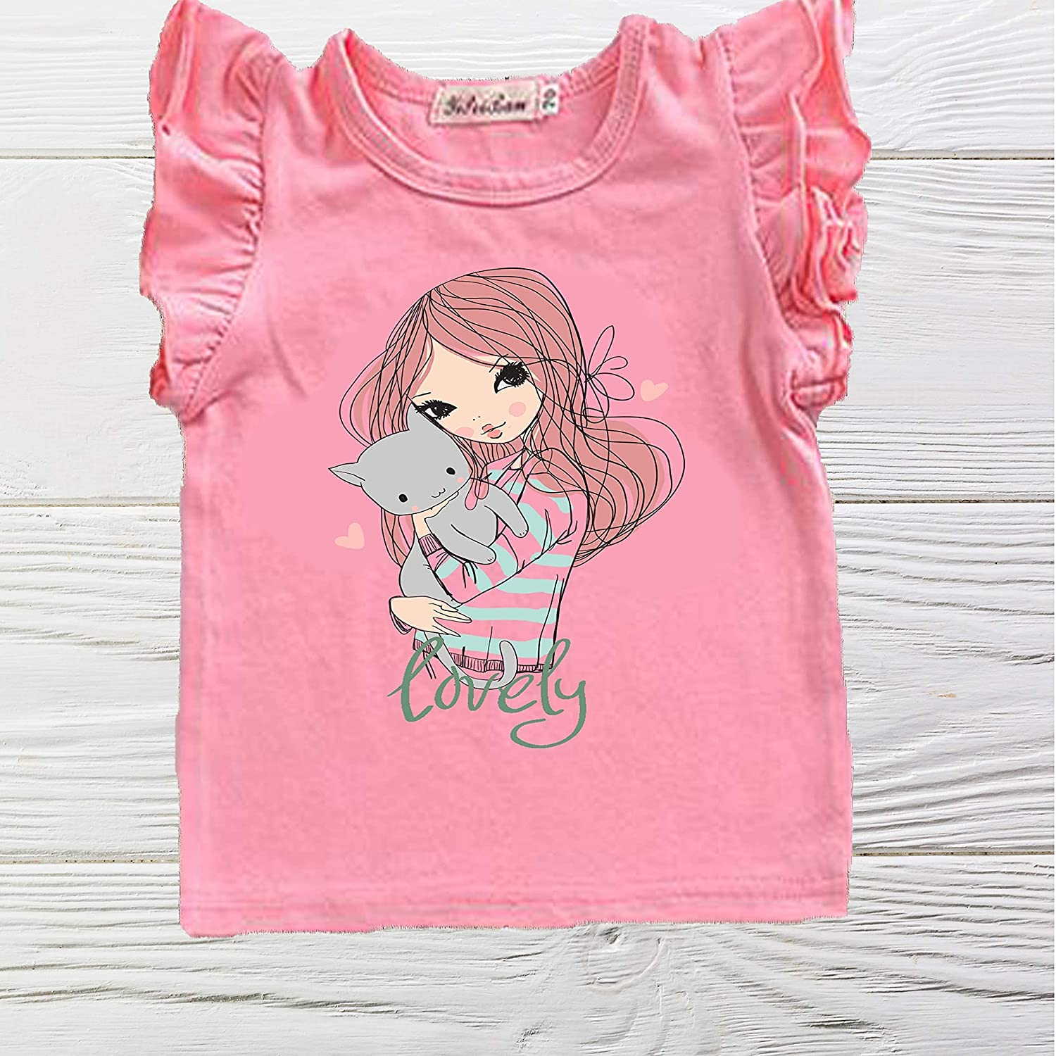Love Max 61% OFF my Cat shirt - shirts Pink New Orleans Mall Sleev girl Ruffle