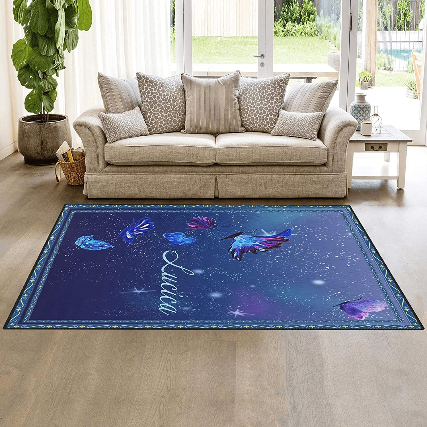 Pretty Watercolor Butterfly Area Ranking TOP10 Doormats Easy-to-use Rug Carpet Nursery