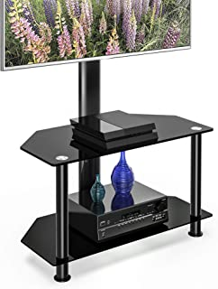 FITUEYES Floor Corner TV Stand with Mount and Height Adjustable TV Stand for 32-55 inches Plasma Flat or Curved Screen TVs 2-Tiers Tempered Glass Shevels TW207502MB
