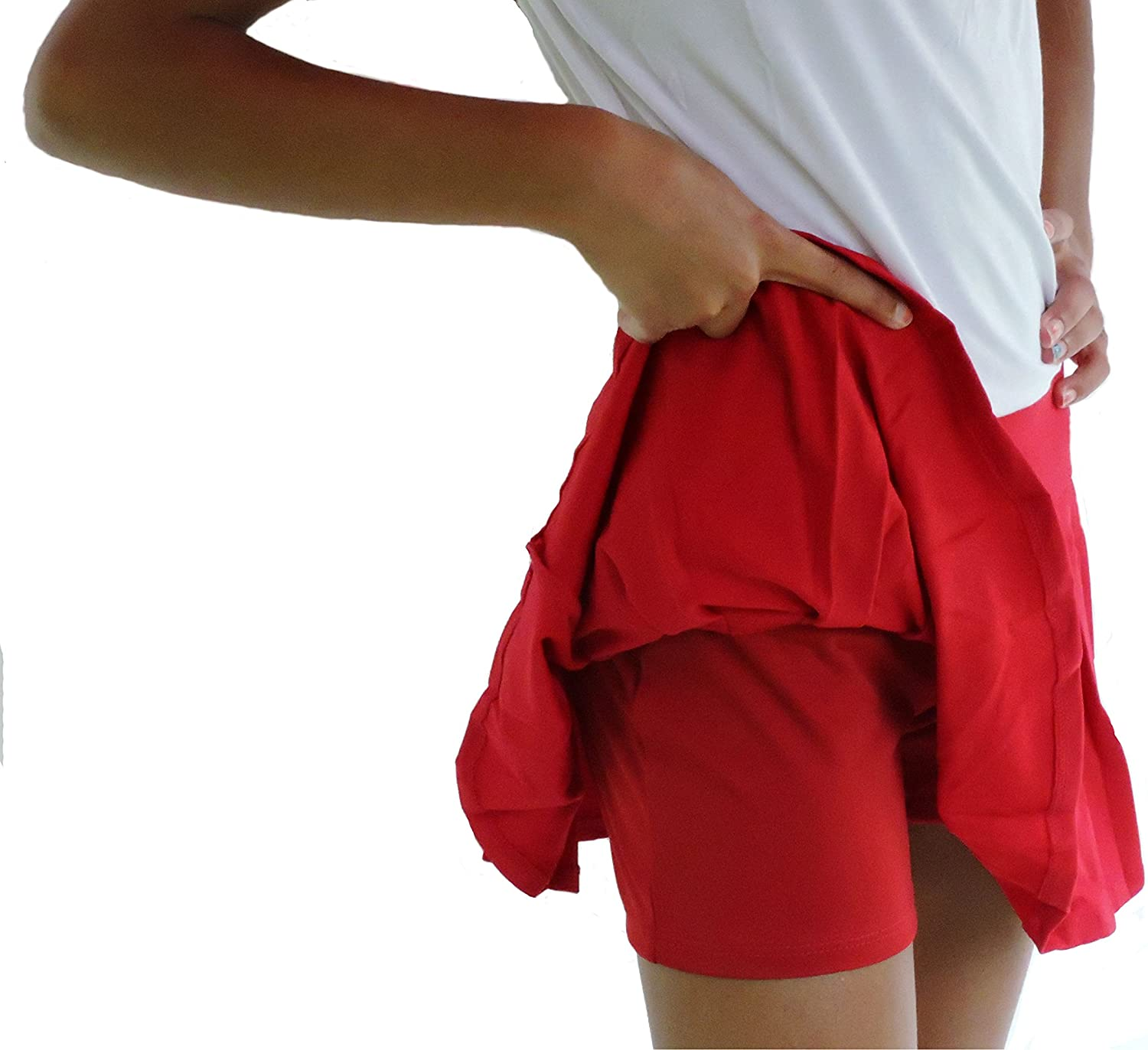 Sephlin  Lady E Girls DriFit Red pink Pleated Skort (2  3 Yrs Old, Red pink)