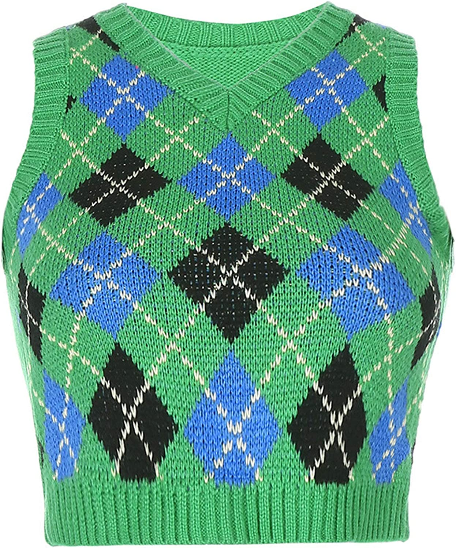 Sweater Vest Women Plaid Knitted Streetwear Preppy Style V Neck Crop Knitwear Tank Top for Girl (Green 1,Large)