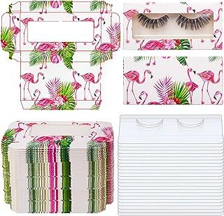 100 Pieces Empty Eyelashes Packaging Box Paper Lash Storage Eyelash Holder Case Eyelashes Container with Tray for False Eyelash Care, Cosmetic Tools (Flamingo Pattern)