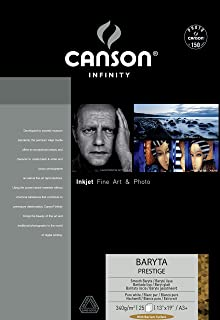 Canson Infinity Baryta Prestige Gloss Paper, 340gsm, 370 Micrometer, 13x19