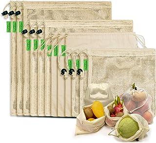 Sacs à Provisions Réutilisables, 12 Sacs de Produits Réutilisables en Coton Biologique Sacs Lavables en Plastique Sans Pla...
