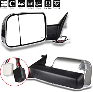 SCITOO Towing Mirrors Chrome Replace Mirror Parts with Indicator Light Puddle lamp Electrical Operated Defrosting Function Compatible for fit 2010-2016 Dodge 1500 2500 3500 Models, Comes with Pair