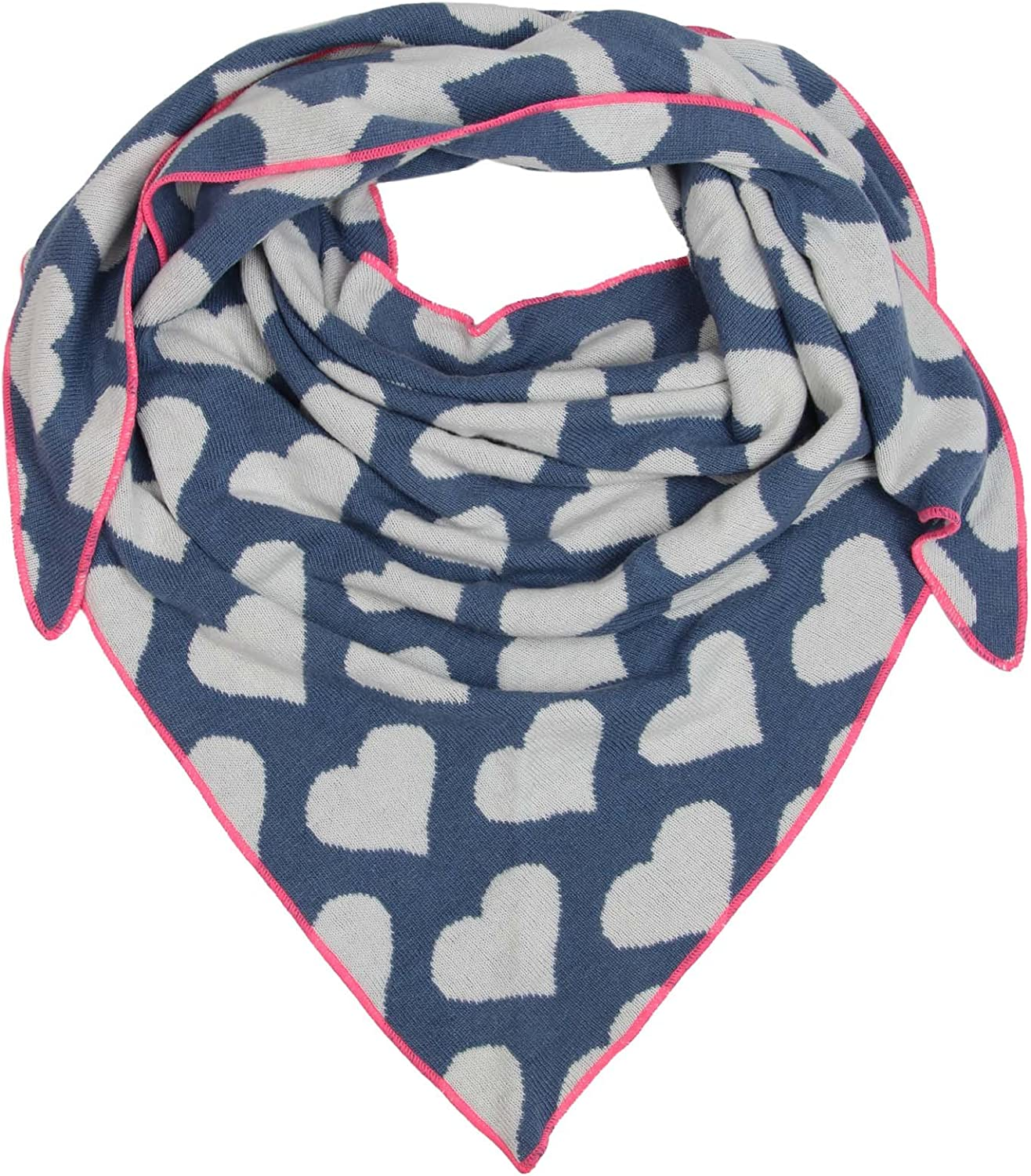 Cashmere Dreams Warehouse Sale% Overstock  Excess Inventory Soft Triangle Scarf with HeartsPremium Quality Warm Knitwear