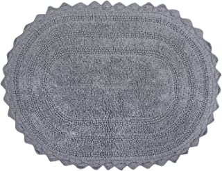 DII Ultra Soft Spa Cotton Crochet Oval Bath Mat or Rug Place in Front of Shower, Vanity, Bath Tub, Sink, and Toilet, 17 x 24