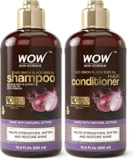 WOW Red Onion Black Seed Oil Shampoo & Conditioner Kit Increase Gloss, Hydration, Shine - Reduce Itchy Scalp, Dandruff & Frizz - No Parabens or Sulfates - All Hair Types (2 x 16.9 Fl Oz / 500mL)