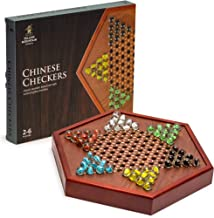 Yellow Mountain Imports Chinese Checkers Game Set with Glass Marbles, 16mm and 12.5 Inch Wooden Board