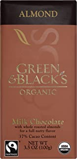 Green & Black's Organic Milk Chocolate with Almonds (10 total bars) 37% Cacao Bars