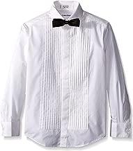 Calvin Klein Boys' Long Sleeve Tuxedo Shirt with Bow Tie