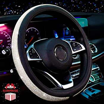 Anti-Slip Black with Colorful Diamonds Sparkly Crystal Rhinestones with Leather Steering Wheel Covers Universal Fit 15 Inch Bling Steering Wheel Cover