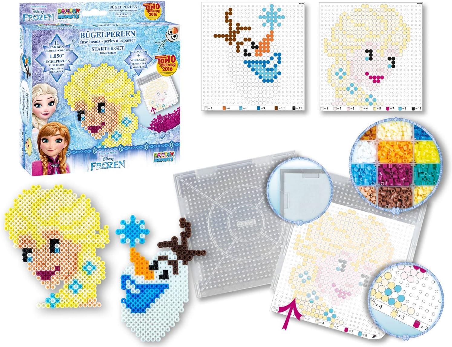 Rainbow Beadys B/ügelperlen Kreativ Set Disney Frozen inklusiv Zubeh/ör 2200 Perlen blau Craze 54353