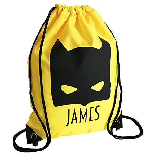 Personalised Kids YELLOW Bat Kid Theme Drawstring Swimming d55550a9cec5a