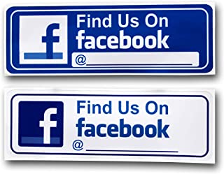 """eSplanade FIND US ON Facebook Sign Sticker Decal - Easy to Mount Weather Resistant Long Lasting Ink Size (9"""" x 3"""")"""
