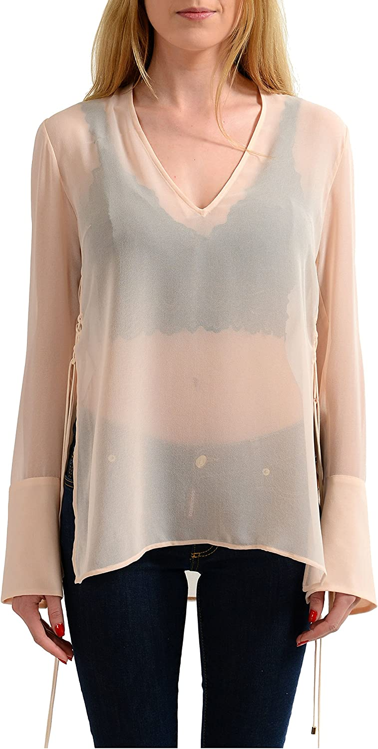 Just Cavalli Light Pink Long Sleeves See Through Women's Blouse Top US S IT 40