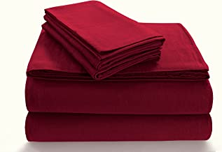 TRIBECA LIVING Solid 5 oz Flannel Extra Deep Pocket Sheet Set, Twin X-Large, Deep Red