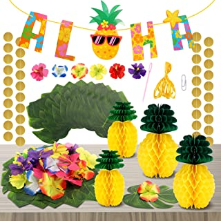 FiGoal Aloha Banner Birthday Party Decorations Palm Leaves and Hibiscus Flowers Tissue Paper Pineapples Tropical Hawaiian ...