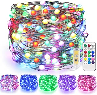 JMEXSUSS 33ft 100 LED String Lights Color Changing Fairy Lights with Remote Copper Lights USB Twinkle Lights Waterproof St...