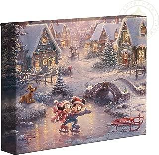 Thomas Kinkade Studios Mickey and Minnie Sweetheart Holiday 8 x 10 Gallery Wrapped Canvas