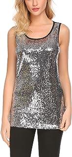 Zeagoo Women's Sleeveless Sparkle Shimmer Camisole Vest Glitter Sequin Tank Tops