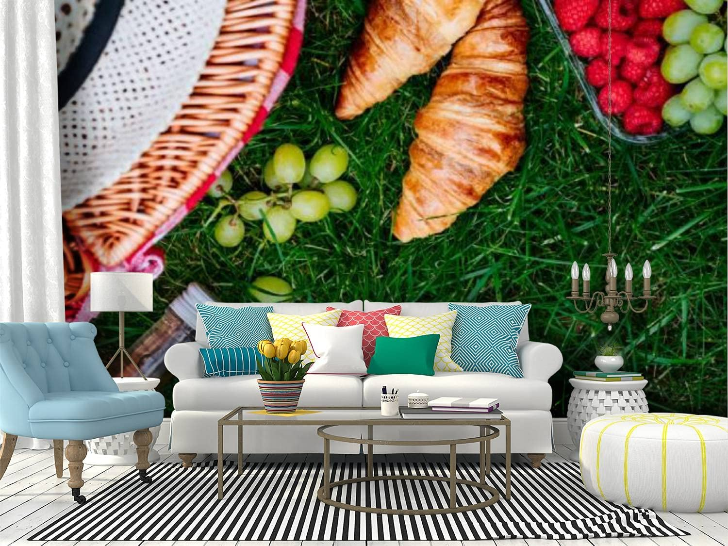 Wall All items in the store Mural Picnic at park Raspberry Manufacturer direct delivery grape on grass crois