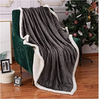Homelike Moment Sherpa Fleece Throw Blanket for Couch Gray Plush FuzzyBlanket Throw Size Soft Warm Sherpa Blankets Bed Throws Grey 50x60 Inches
