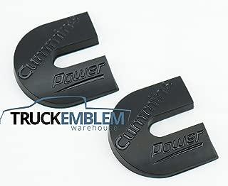 2 NEW (PAIR) MATTE BLACK WITH BLACK LETTERING CUSTOM RAM DIESEL POWER TURBO DIESEL EMBLEMS BADGES SET