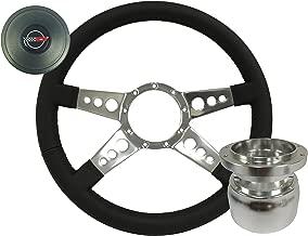 Volante S9 Leather Quad Spoke Steering Wheel Racer Kit compatible with 1984-1989 Chevrolet C4 Corvette