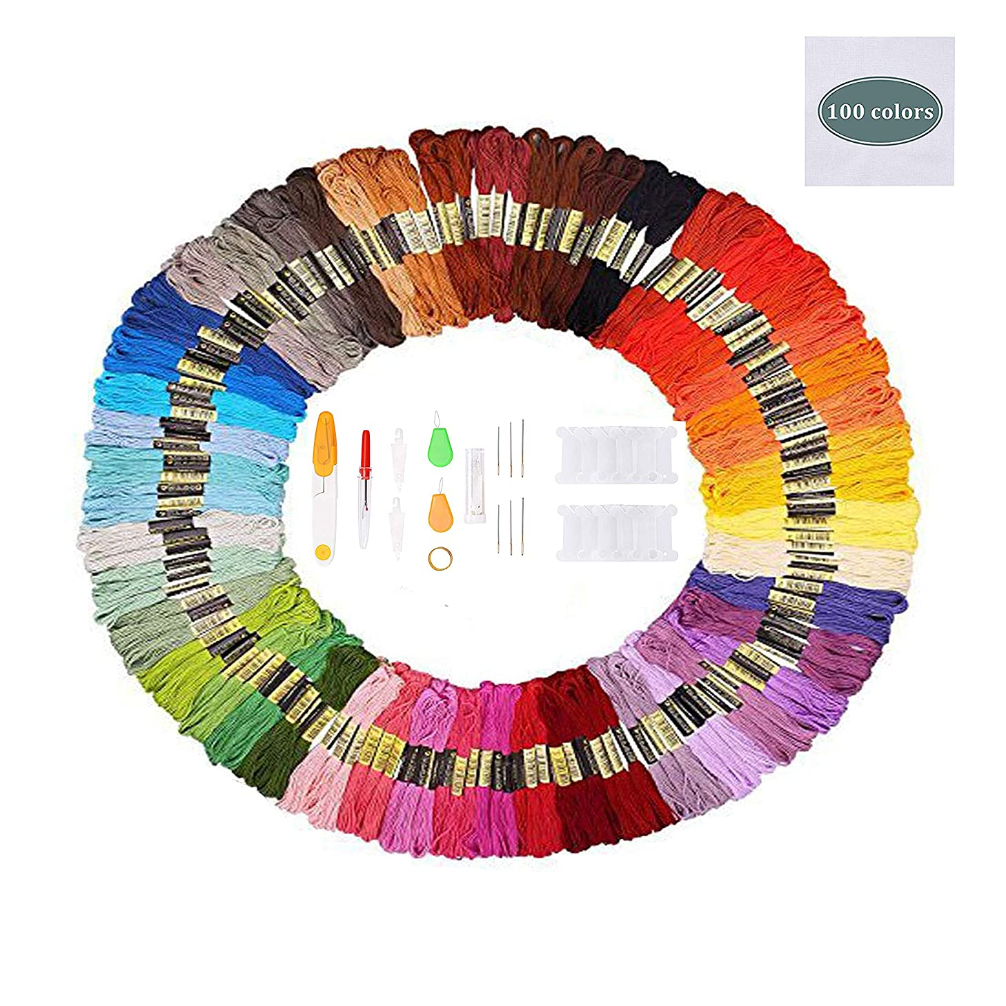 ZHAOER Embroidery Thread Floss - Friendship Bracelet String - 100 Skeins Per Pack w/Set of Embroidery Needles and Cross Stitch Tool Kits
