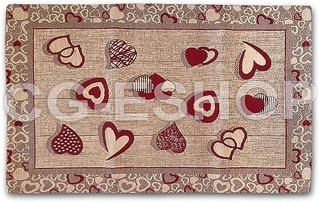 Confezioni.Giuliana Tappeto PASSATOIA Cucina Jacquard Antiscivolo Tirolese Cuori APPESI Rosso 55x120