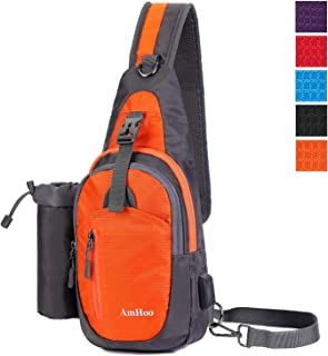 AmHoo Sling Backpack Chest Shoudler Crossbody Bag Waterproof Hiking Daypack for Women and Man with Water