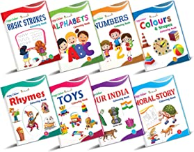 Colouring Books Collections for Early Learning by InIkao english Pack of 8 Copy Coloring Books on alphabets numbers colors shapes toys and rhymes