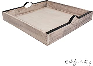 Rutledge & King Beaufort Serving Tray - Ottoman Tray/Decorative Tray - Coffee Table Tray/Square Wooden Tray - Breakfast in Bed Tray with Handles - Rustic Wood Tray